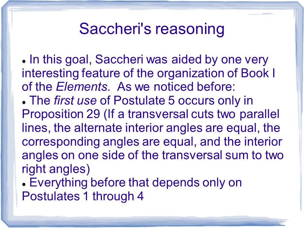 Saccheri s reasoning