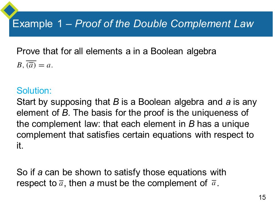 Example 1 – Proof of the Double Complement Law