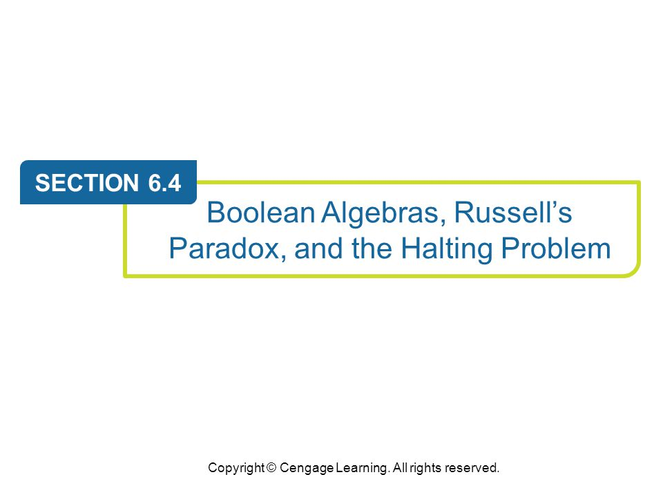 Boolean Algebras, Russell's Paradox, and the Halting Problem