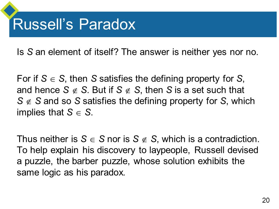 Russell's Paradox Is S an element of itself The answer is neither yes nor no.