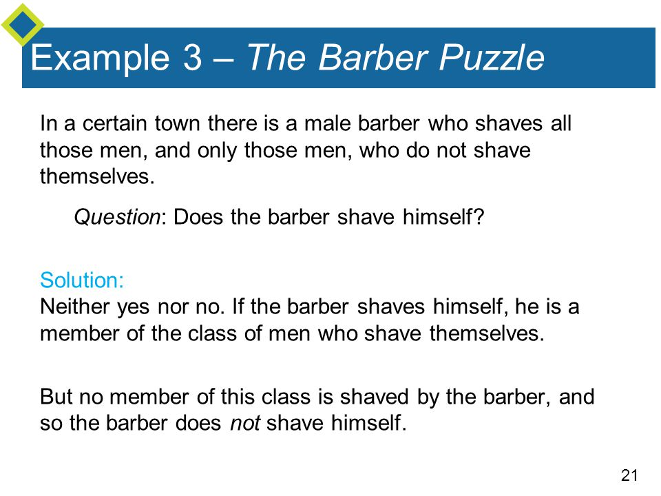Example 3 – The Barber Puzzle