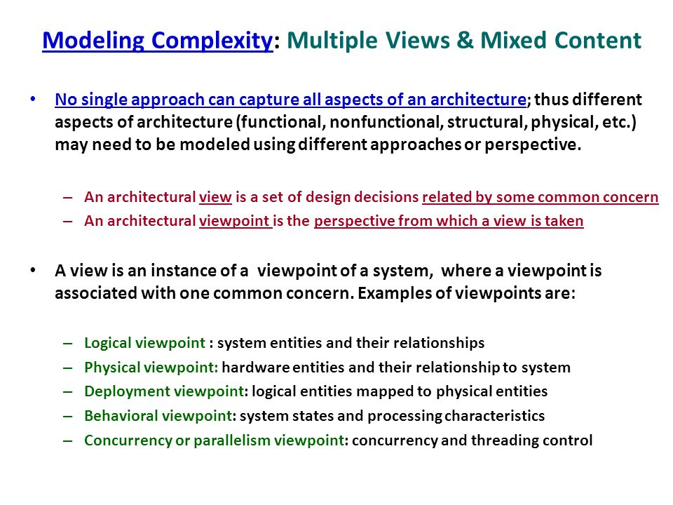 Modeling Complexity: Multiple Views & Mixed Content