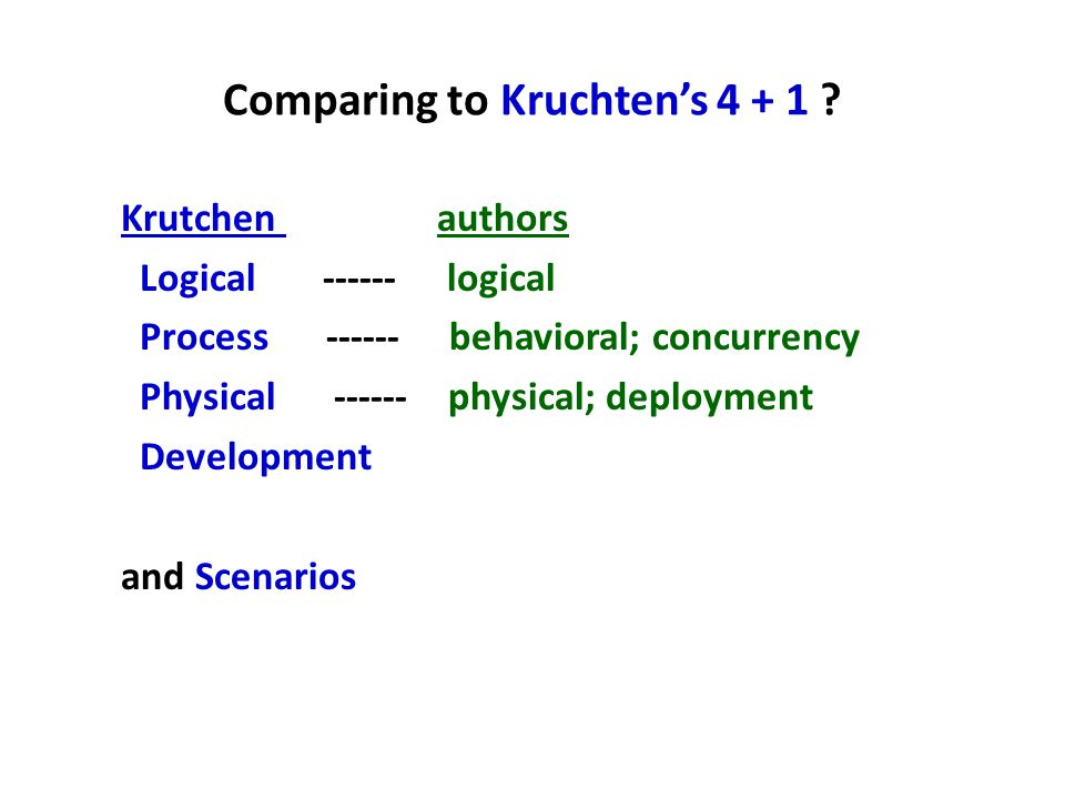 Comparing to Kruchten's 4 + 1