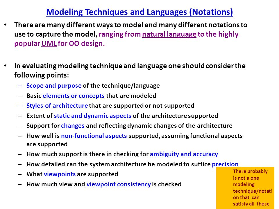 Modeling Techniques and Languages (Notations)