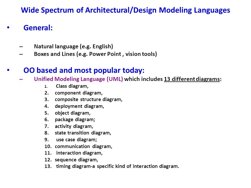 Wide Spectrum of Architectural/Design Modeling Languages