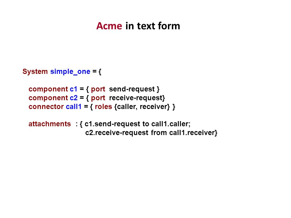 Acme in text form System simple_one = {