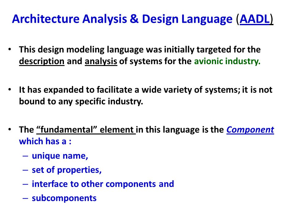 Architecture Analysis & Design Language (AADL)