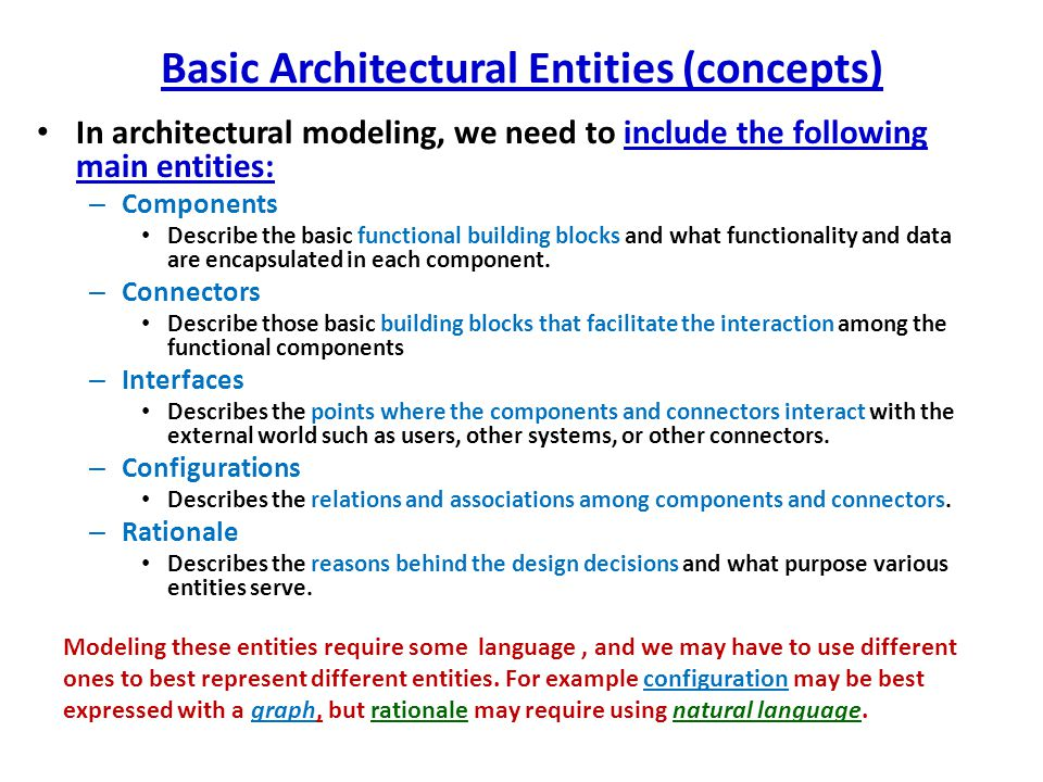 Basic Architectural Entities (concepts)