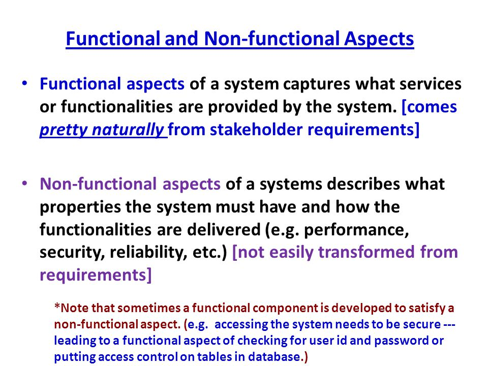 Functional and Non-functional Aspects