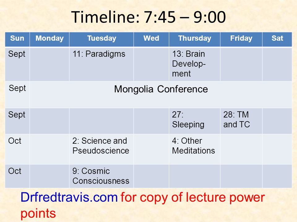 Timeline: 7:45 – 9:00 Sun. Monday. Tuesday. Wed. Thursday. Friday. Sat. Sept. 11: Paradigms.