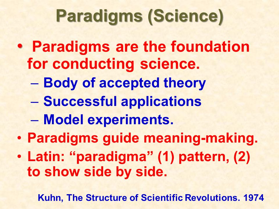 Paradigms are the foundation for conducting science.