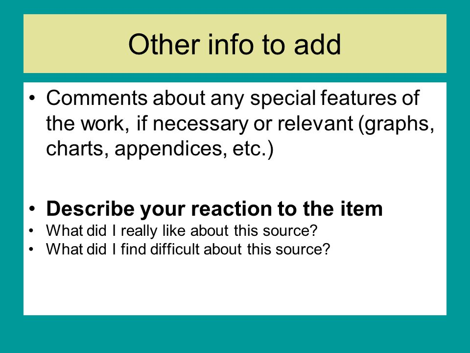 Other info to add Comments about any special features of the work, if necessary or relevant (graphs, charts, appendices, etc.)