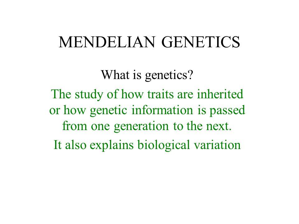 It also explains biological variation