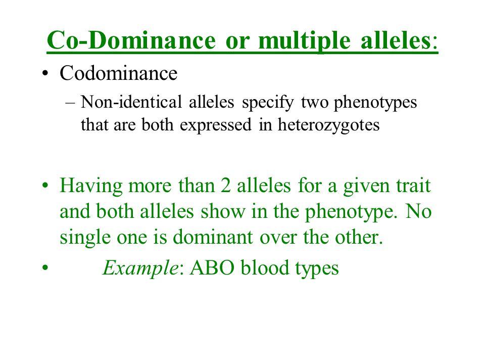 Co-Dominance or multiple alleles:
