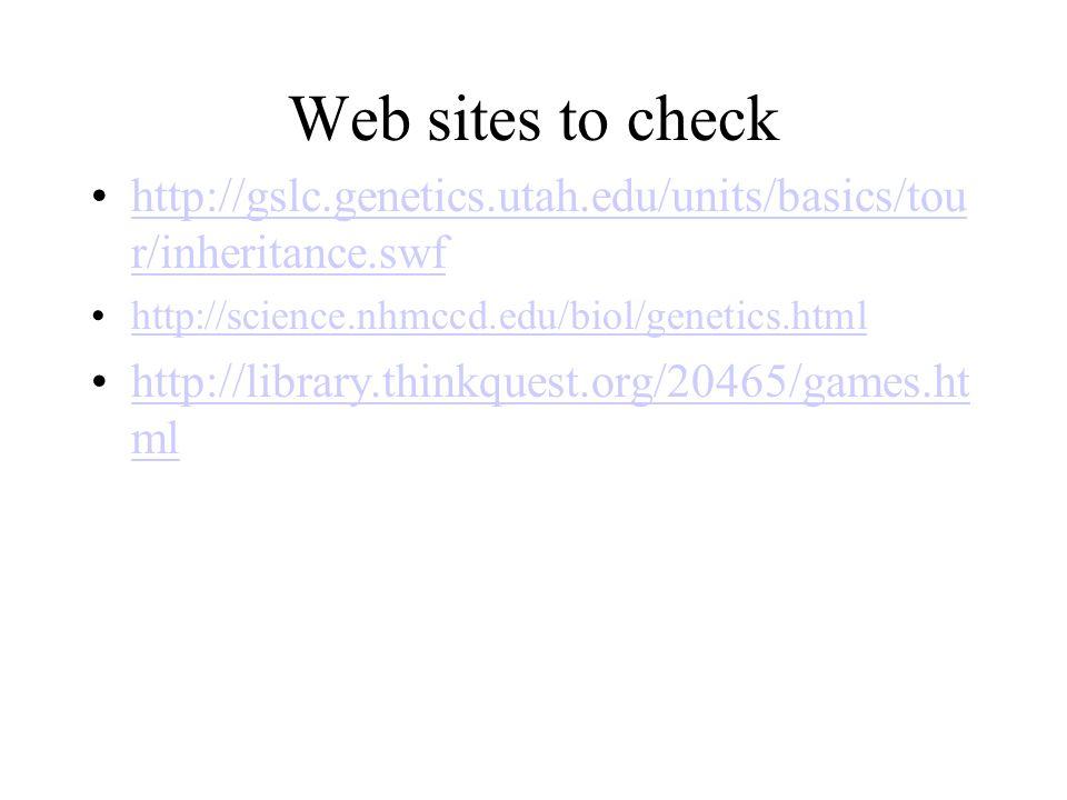 Web sites to check http://gslc.genetics.utah.edu/units/basics/tour/inheritance.swf. http://science.nhmccd.edu/biol/genetics.html.
