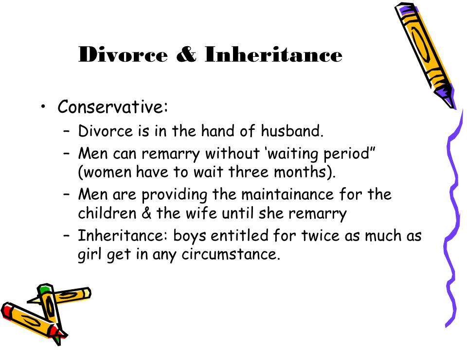 Divorce & Inheritance Conservative: Divorce is in the hand of husband.