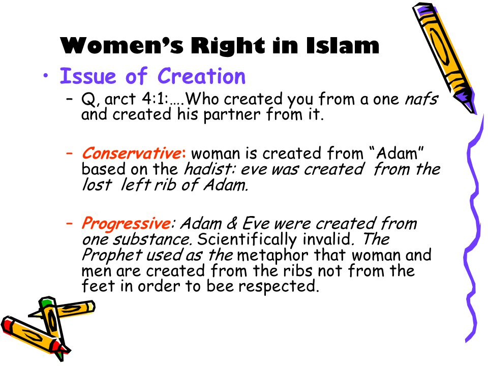 Women's Right in Islam Issue of Creation