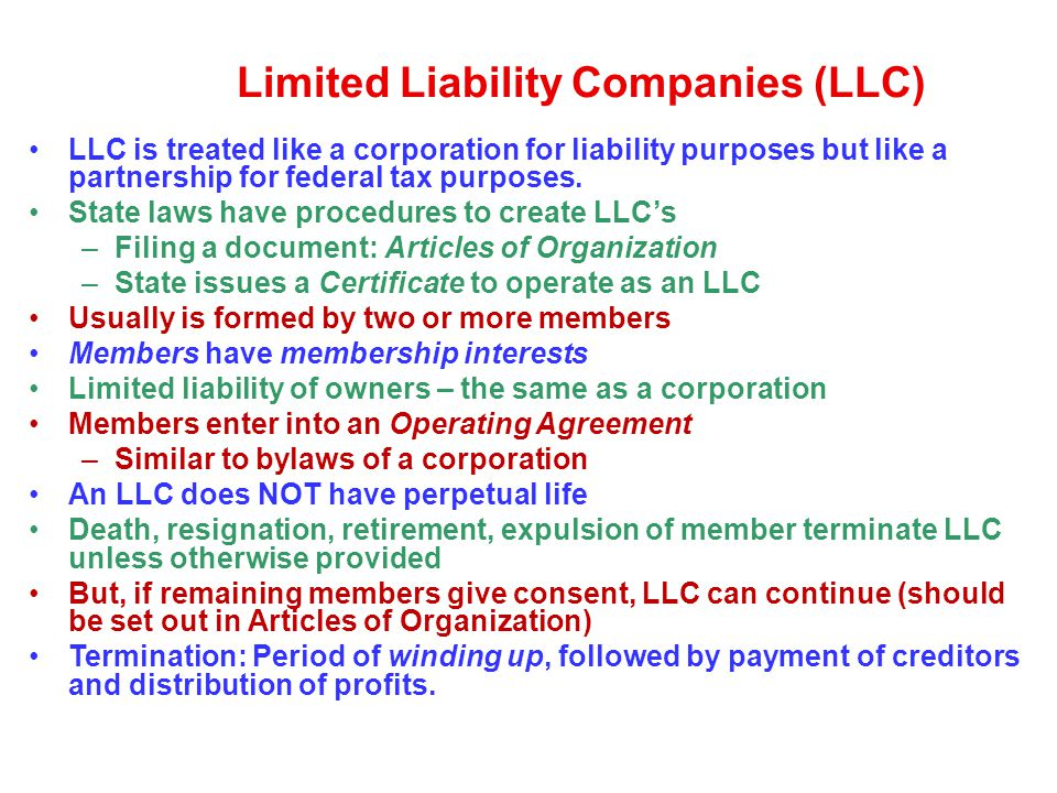 Limited Liability Companies (LLC)