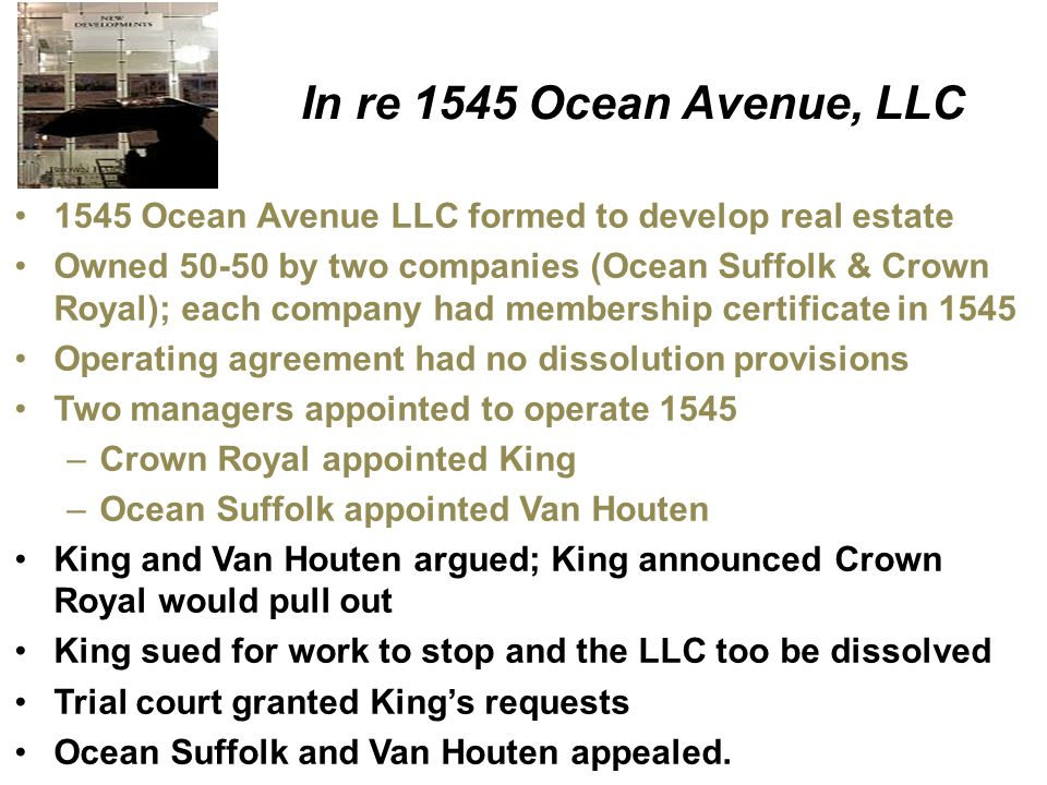 In re 1545 Ocean Avenue, LLC 1545 Ocean Avenue LLC formed to develop real estate.