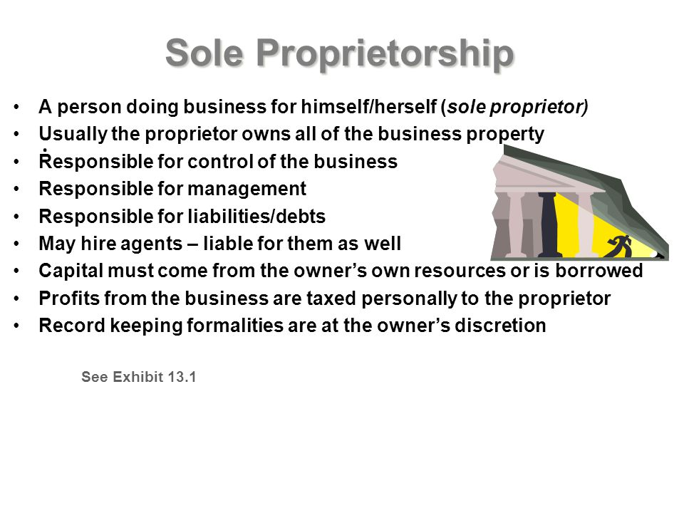 Sole Proprietorship A person doing business for himself/herself (sole proprietor) Usually the proprietor owns all of the business property.