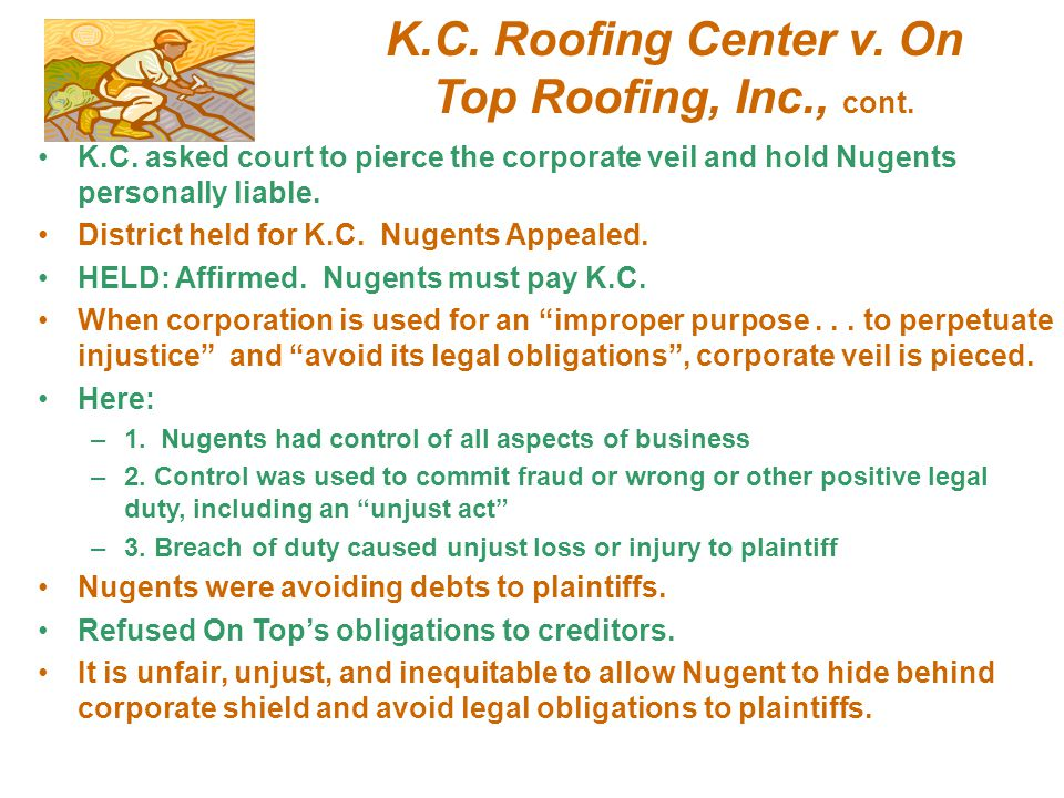 K.C. Roofing Center v. On Top Roofing, Inc., cont.