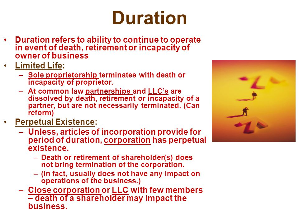 Duration Duration refers to ability to continue to operate in event of death, retirement or incapacity of owner of business.