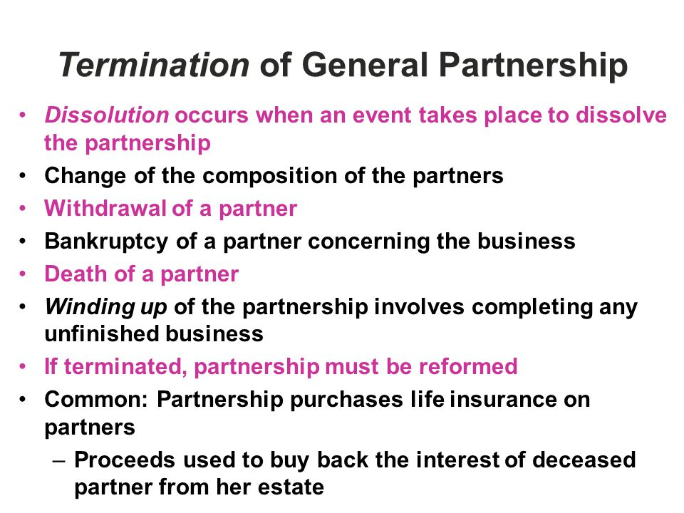 Termination of General Partnership