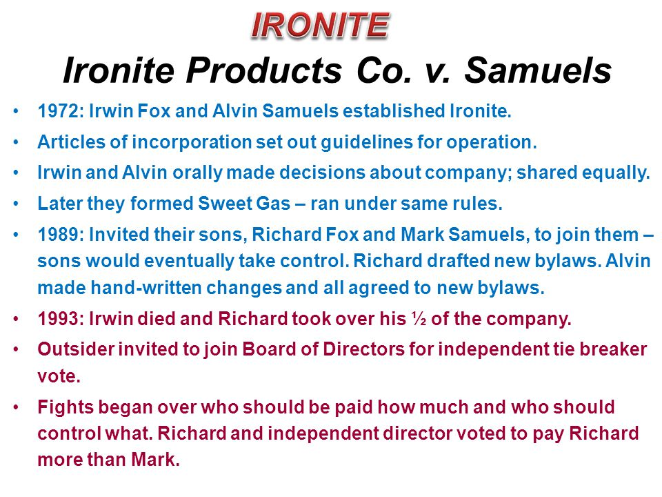 Ironite Products Co. v. Samuels
