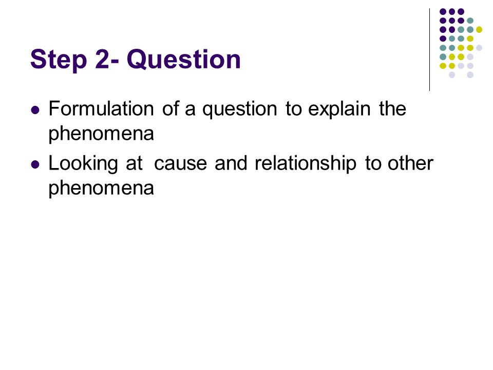 Step 2- Question Formulation of a question to explain the phenomena