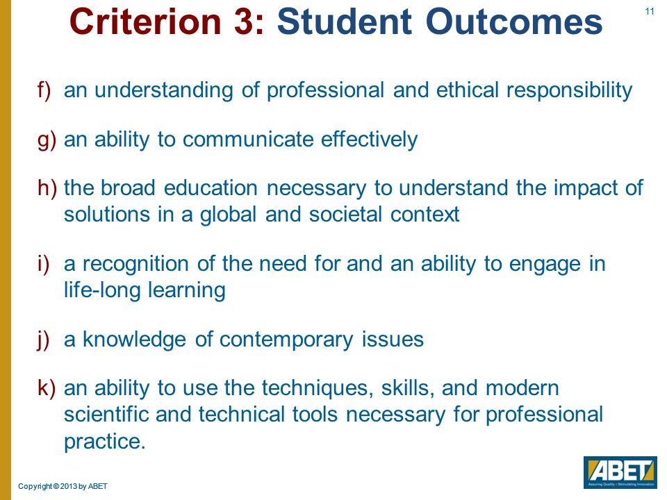 Criterion 3: Student Outcomes