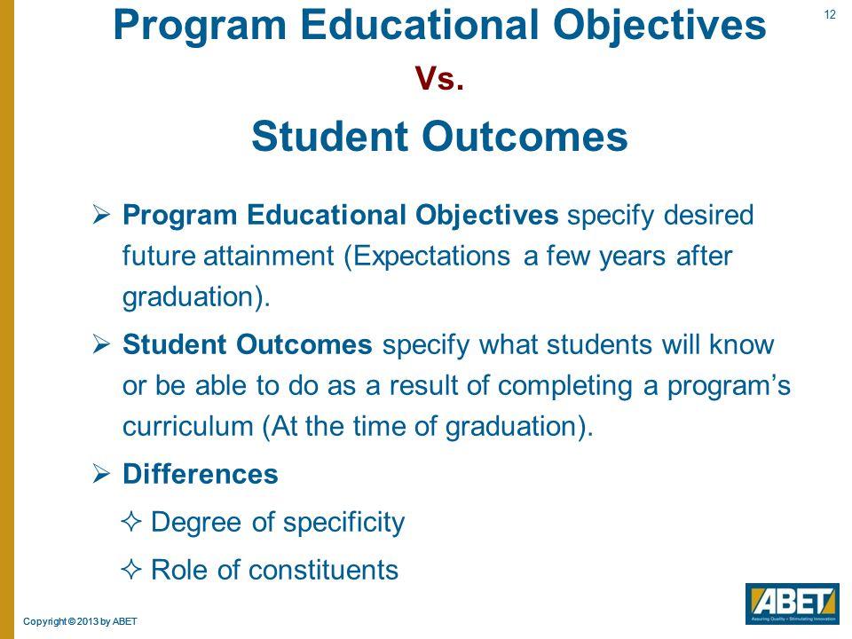 Program Educational Objectives Vs.