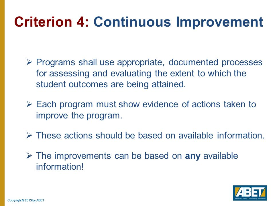 Criterion 4: Continuous Improvement