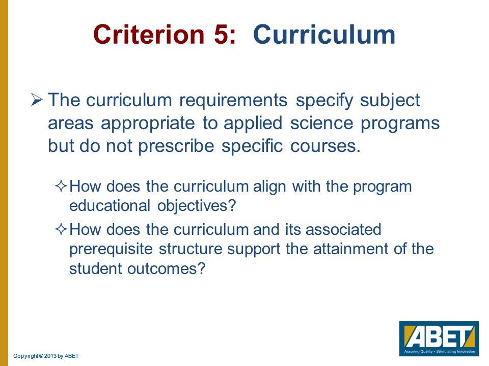 Criterion 5: Curriculum