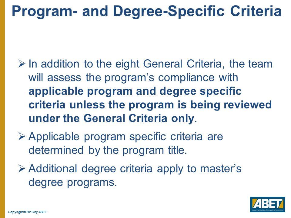 Program- and Degree-Specific Criteria