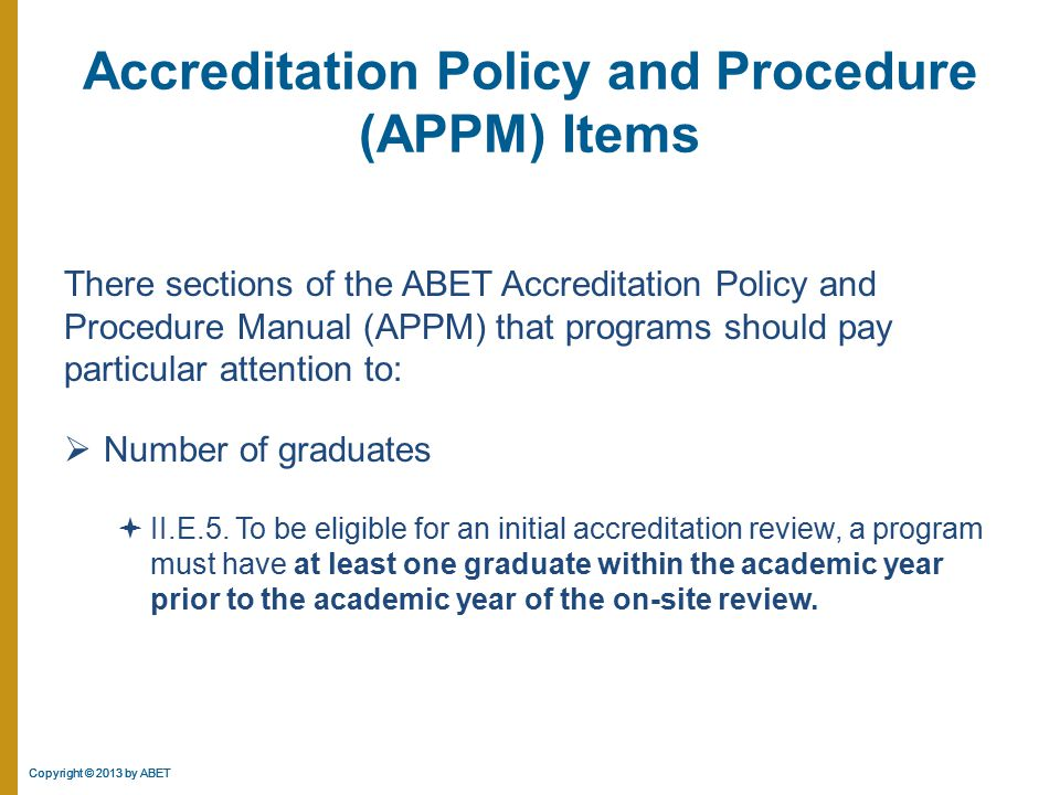 Accreditation Policy and Procedure (APPM) Items