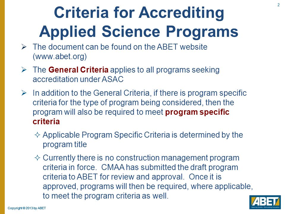 Criteria for Accrediting Applied Science Programs