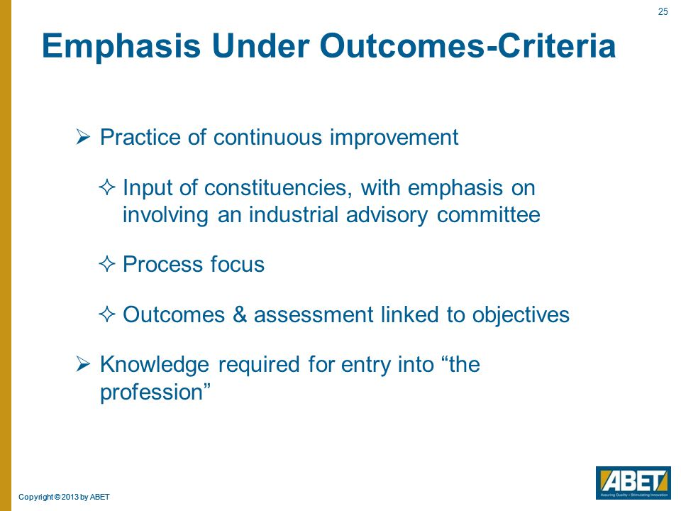 Emphasis Under Outcomes-Criteria