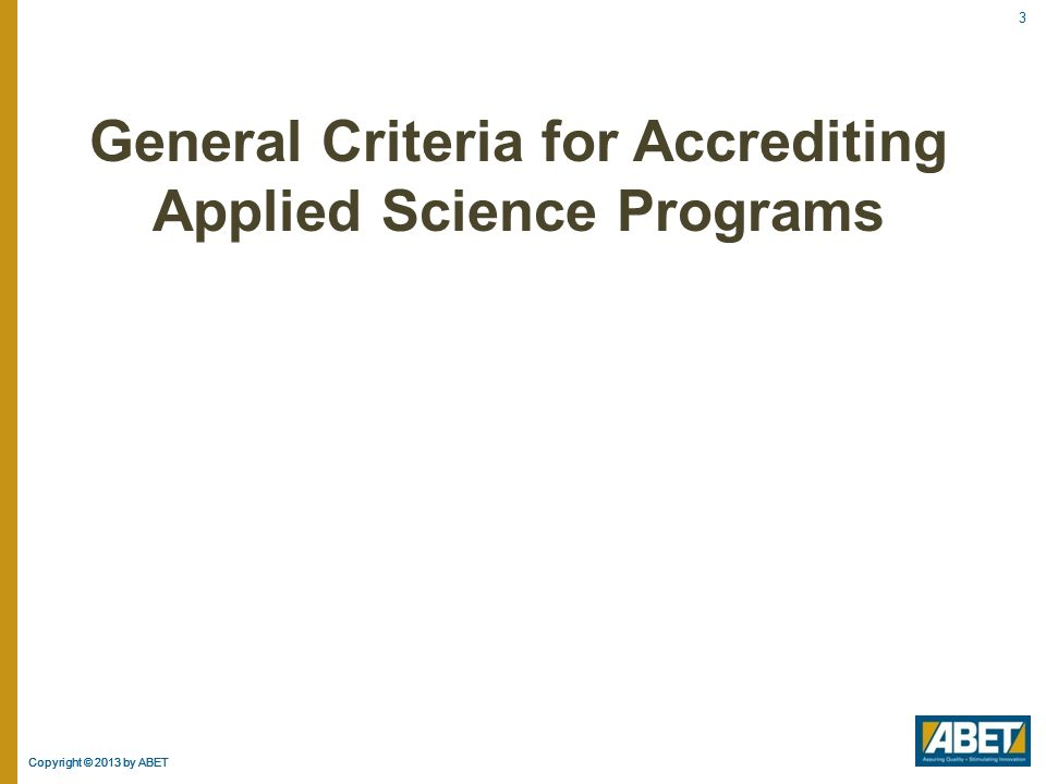 General Criteria for Accrediting Applied Science Programs