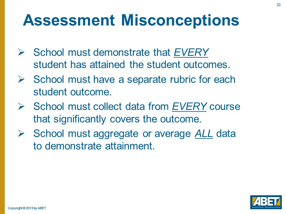 Assessment Misconceptions