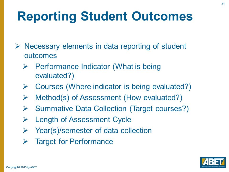 Reporting Student Outcomes
