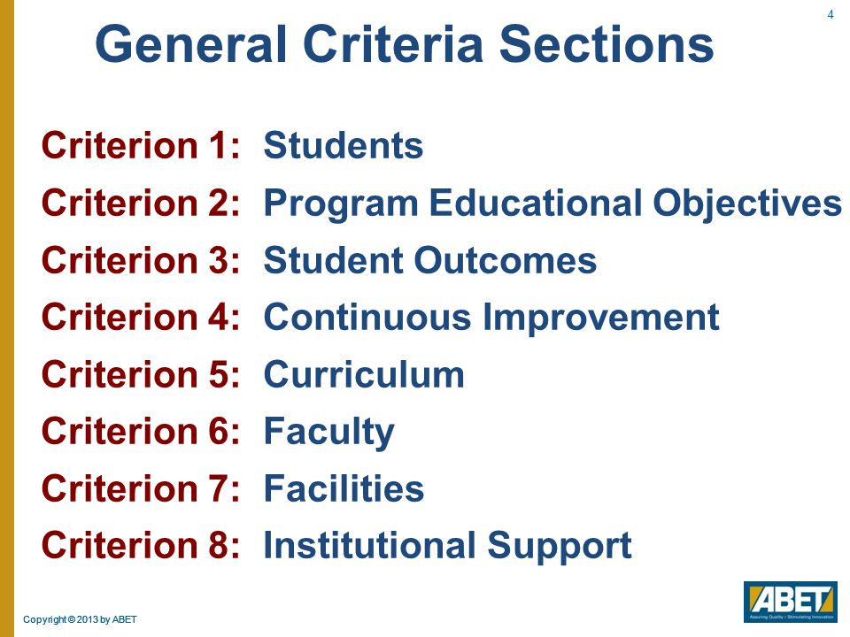 General Criteria Sections