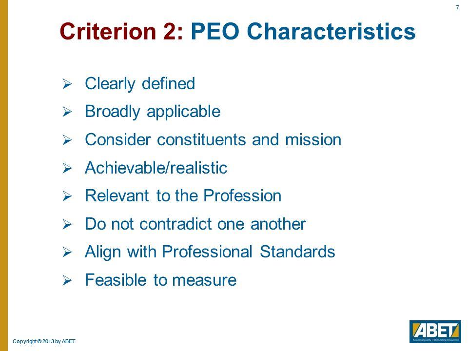 Criterion 2: PEO Characteristics