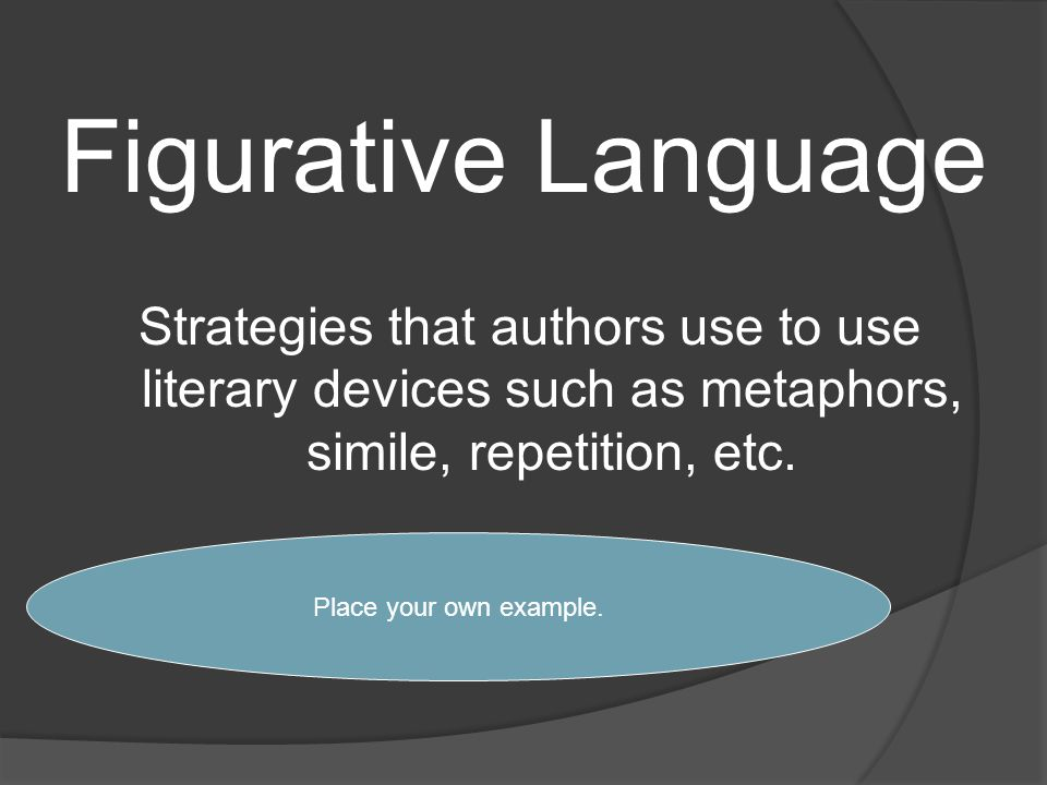 Figurative Language Strategies that authors use to use literary devices such as metaphors, simile, repetition, etc.