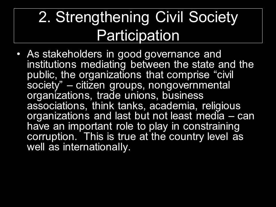 2. Strengthening Civil Society Participation