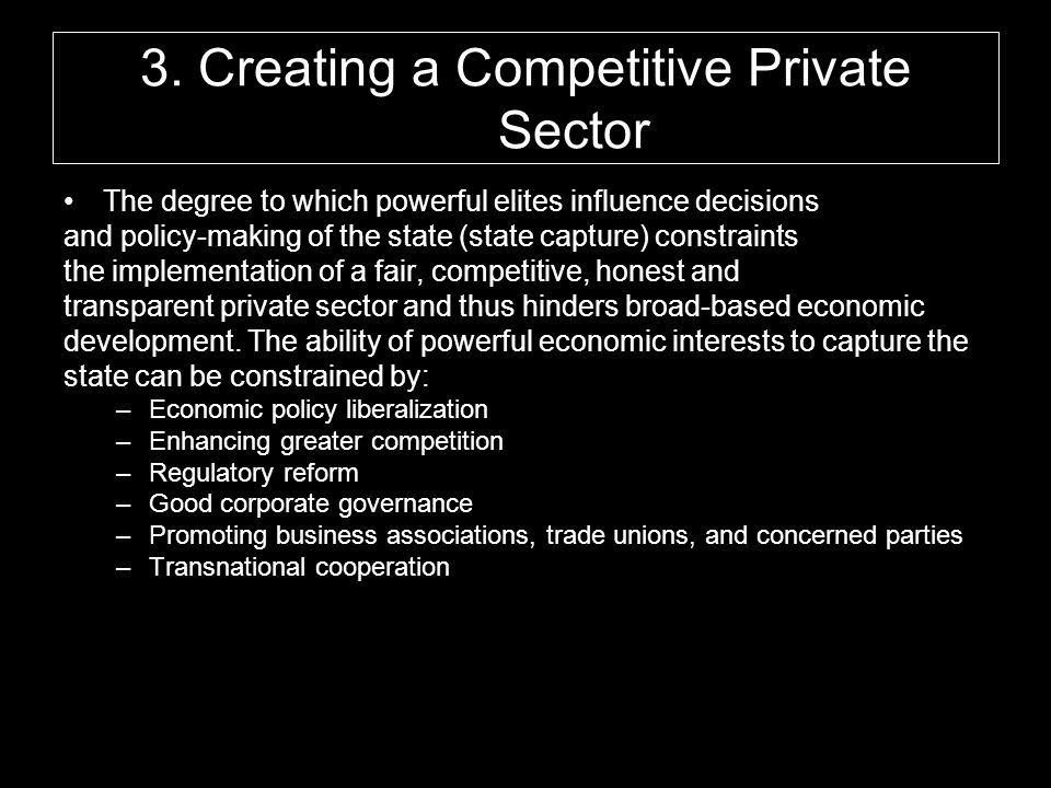 3. Creating a Competitive Private Sector