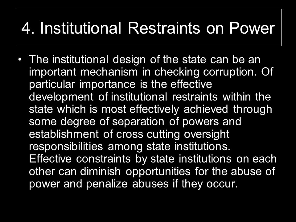 4. Institutional Restraints on Power
