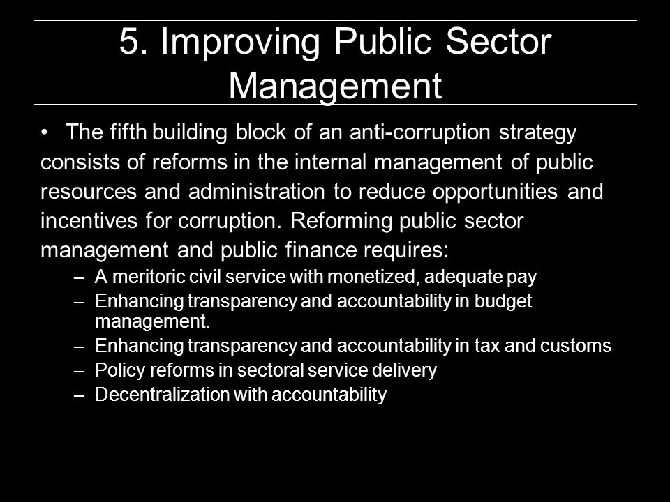 5. Improving Public Sector Management