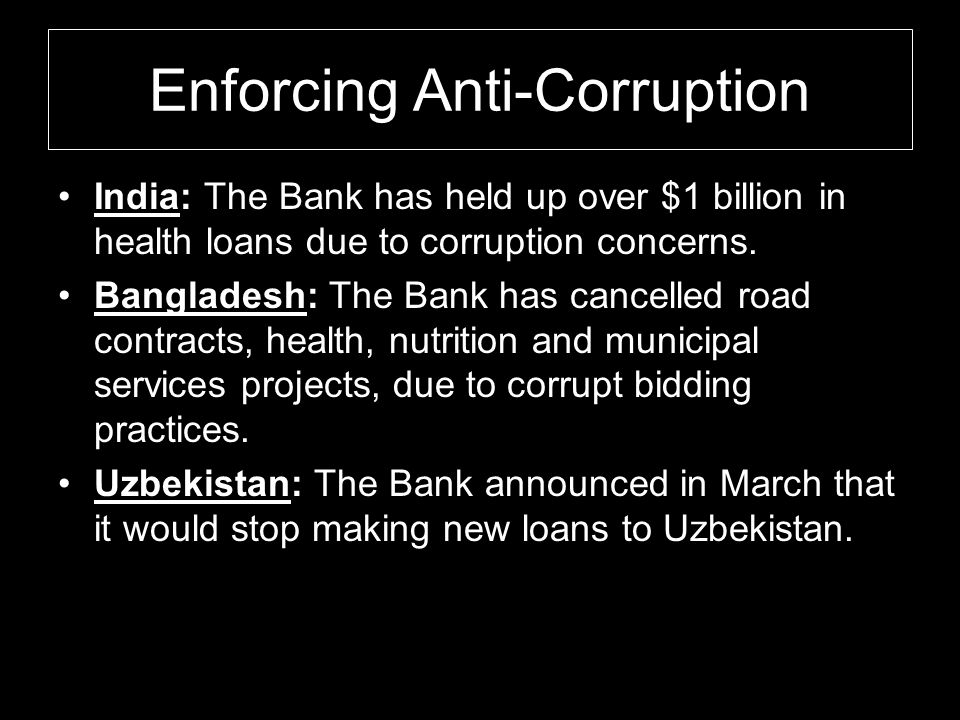 Enforcing Anti-Corruption