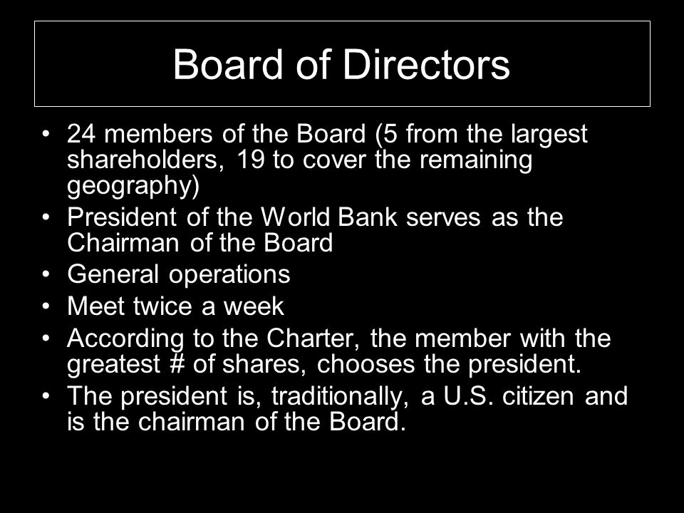 Board of Directors 24 members of the Board (5 from the largest shareholders, 19 to cover the remaining geography)