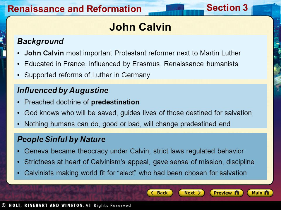 John Calvin Background Influenced by Augustine People Sinful by Nature